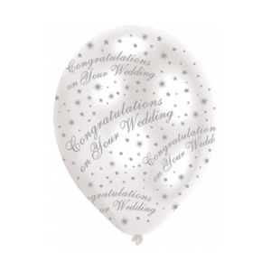 Pearl White & Silver Text Congratulations on Your Wedding Balloons Pack of 6