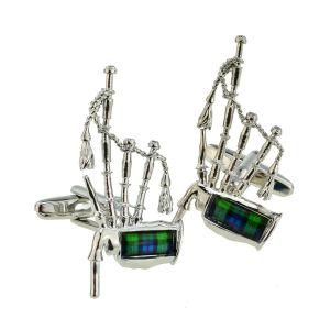 MacKenzie Tartan Bagpipes Scottish Cufflinks