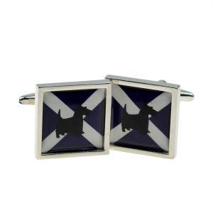 Cufflinks Scottish Saltire Flag with Scottie Dog design