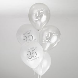 Vintage Romance - 25th Anniversary Balloons - White/Silver - Pack of 8
