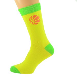 Yellow & Lime Green Unisex Socks with Basketball design