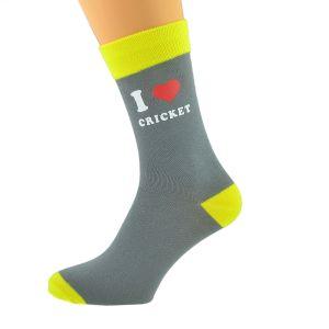Ash Grey & Yellow Unisex Socks I Love Cricket