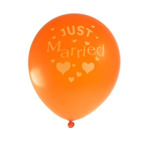 Just Married Orange with Ivory Text Balloon Pack (10 Pack)