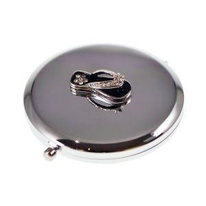 Black Flip Flop Design Handbag Mirror (engravable)